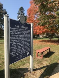 Saye-Brooke Historic Sign in Fall